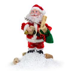 Santa Claus with corkscrew on a white background