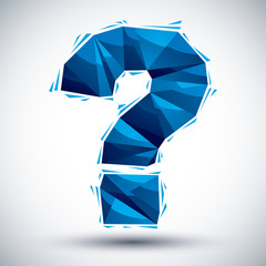 Blue question mark geometric icon made in 3d modern style, best