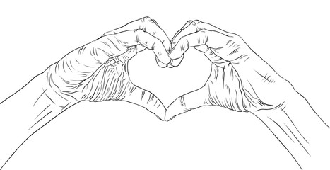 Hands in heart form, detailed black and white lines vector illus