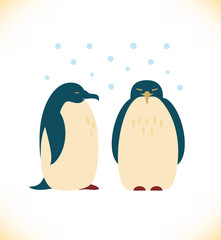 Vector image with funny penguins