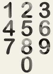 Halftone dots rounded numbers.