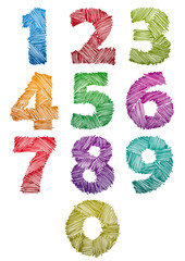 Hand drawn and sketched color bold numbers set.