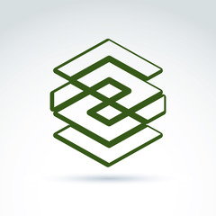 Complex geometric corporate element. Vector abstract green figur