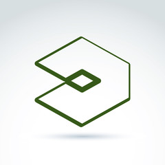 Complex geometric corporate element. Vector unusual figure isola