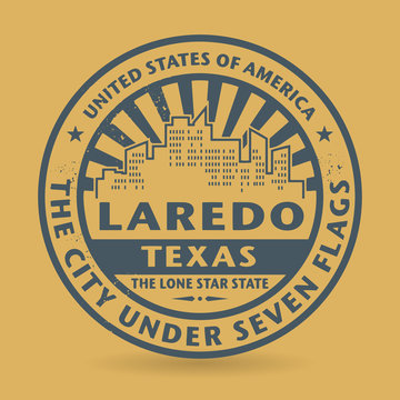 Grunge rubber stamp with name of Laredo, Texas