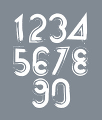 White handwritten numbers, vector doodle brushed figures, hand-p