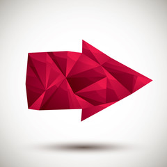 Red arrow geometric icon made in 3d modern style, best for use a