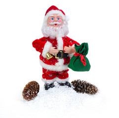 Santa Claus with cones on a white background