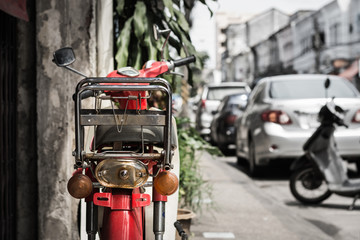 Old red motorcycle
