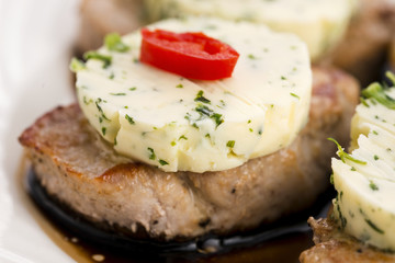 steak with herbs butter