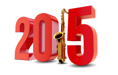 New Year 2015 with Saxophone against Background