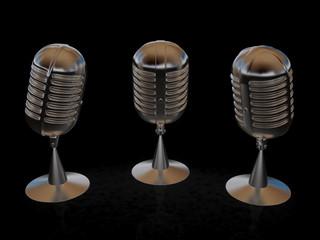 3 metal microphones