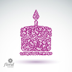 Vector burning wax candle, flower-patterned illustration of a tw