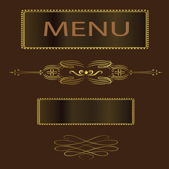 Fancy Brown and Gold Menu Cover