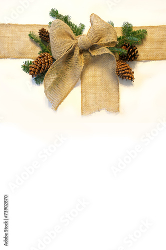 Burlap Christmas Bow and Pine Cones Frame on White Background\