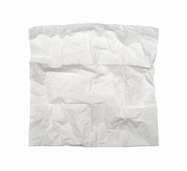 Square used napkin, isolated on white. With clipping path