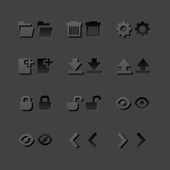 Grey web app graphic editor tools icons in 2 states
