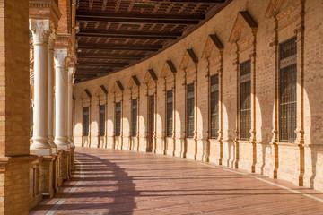 Seville - The porticoes of Plaza de Espana square