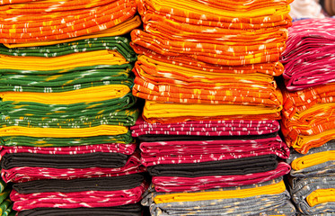 cloth fabrics heap  at a local market in India
