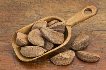 Brazilian nuts in rustic scoop