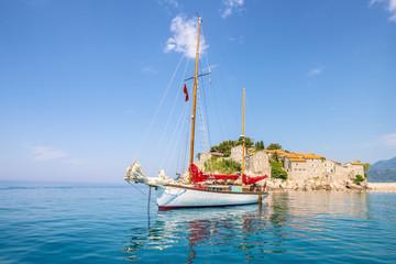 Luxury yacht in the Mediterranean. Montenegro