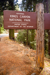 Kings Canyon National Park Entrance Sign US Interior Department