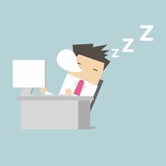 Businessman sleep during working