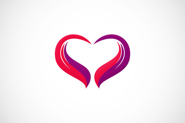 love heart wing abstract logo vector