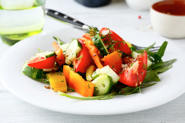 Salad with tomato pepper and cucumber