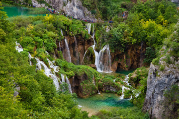 Lake at Plitvice Lakes National Park in Croatia with waterfalls.