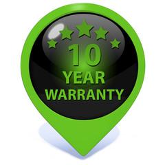 Ten year warranty pointer icon on white background