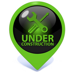 Under construction pointer icon on white background