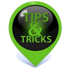 Tips & tricks pointer icon on white background