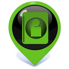 Profile pointer icon on white background