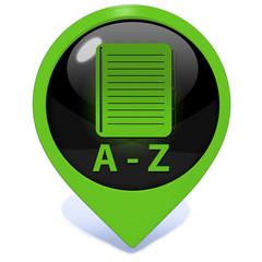 A-Z pointer icon on white background