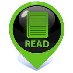 Read pointer icon on white background