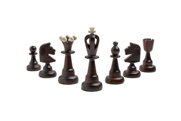Black chess pieces on a white background