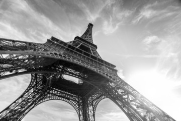 An abstract view of an Eiffel Towerin black and whi