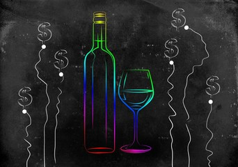 Wine art illustration
