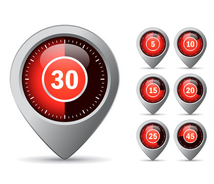 Timer red icons