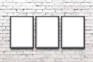 Three blank vertical paintings poster in black frame