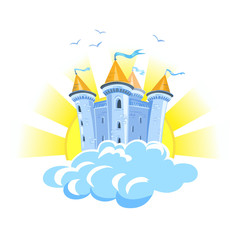 fairy tale castle in the clouds with the sun