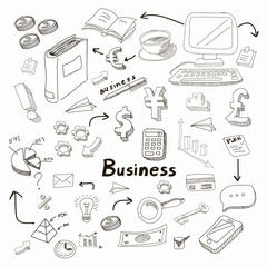 Doodle business diagrams set on blackboard  illustration