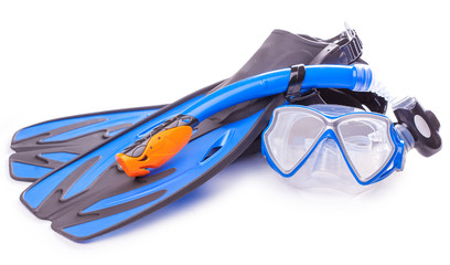 Poster de jardin Plongée Blue diving goggles,snorkel and flippers. isolated