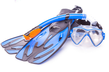 Foto op Canvas Duiken Blue diving goggles,snorkel and flippers. isolated