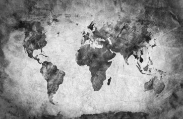 Ancient, old world map. A sketch, grunge vintage background