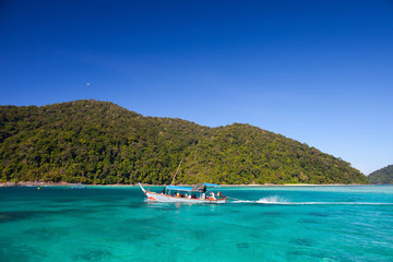 long boat at tachai island in Thailand