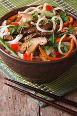 Rice noodles with meat, mushrooms and vegetables vertical