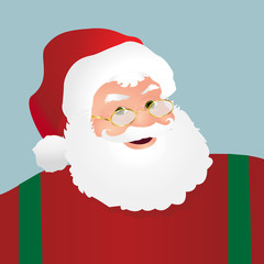 Santa Face Profile Over a Light Blue Background