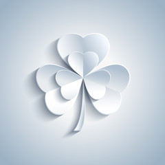 Beautiful Patricks day card with grey leaf clover